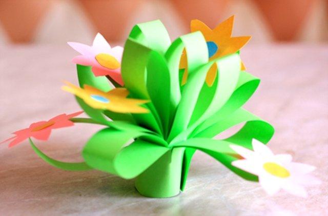 Цветы из бумаги цветной поделки