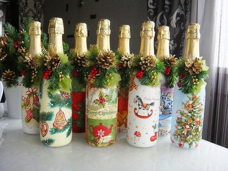 Декор бутылок на новый год 2017