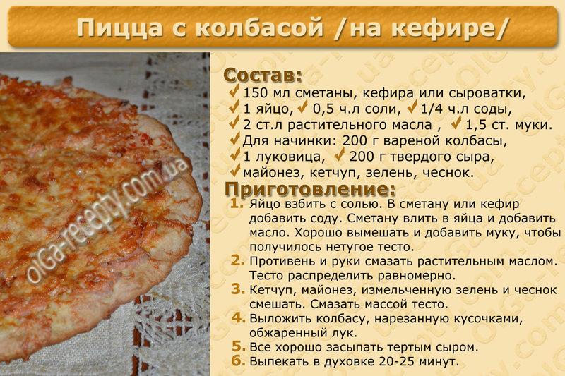 Пицца без кефира и сметаны