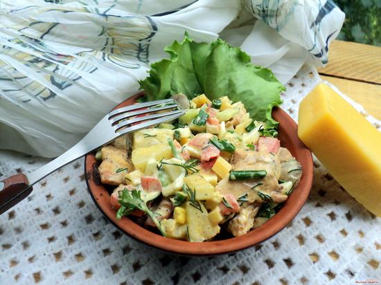 Салат с ананасом и сыром рецепт с пошагово в