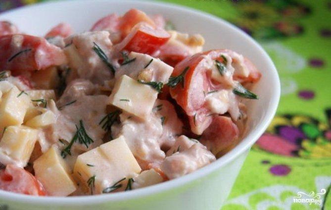 Салат с копчеными куриными грудками рецепт с