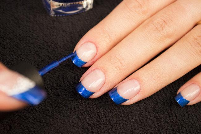 Ногти гель лак синий френч