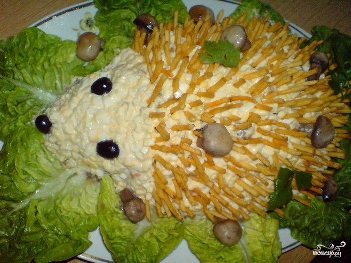Салат в форме ежика рецепт