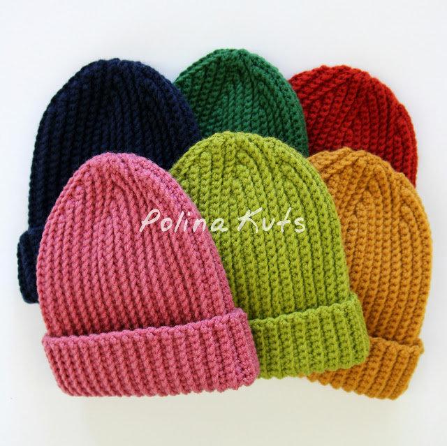 Вязание женской шапочки крючком резинкой