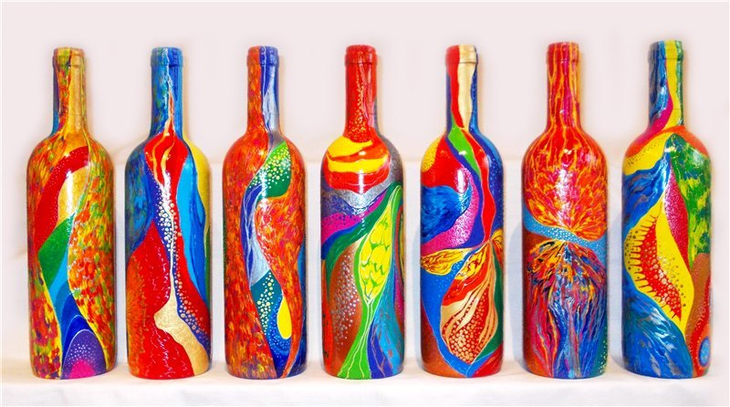Акриловые краски для росписи бутылок