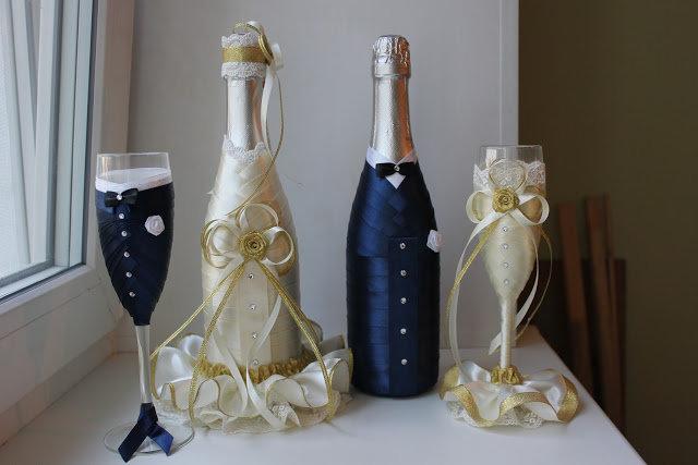 Украсить бутылку шампанского своими руками с фото 92