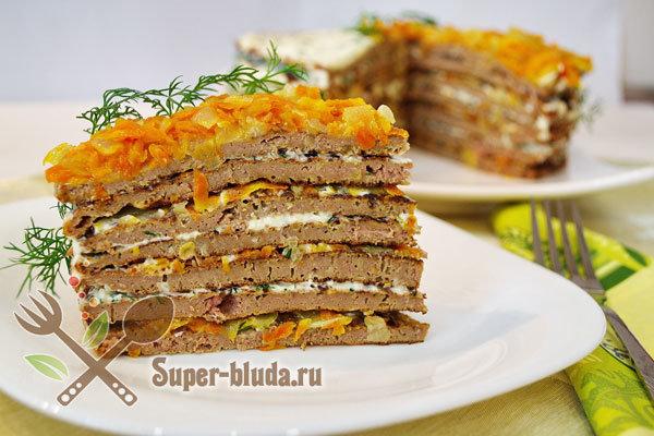 Печёночный торт из говяжьей печени со сметаной рецепт пошагово