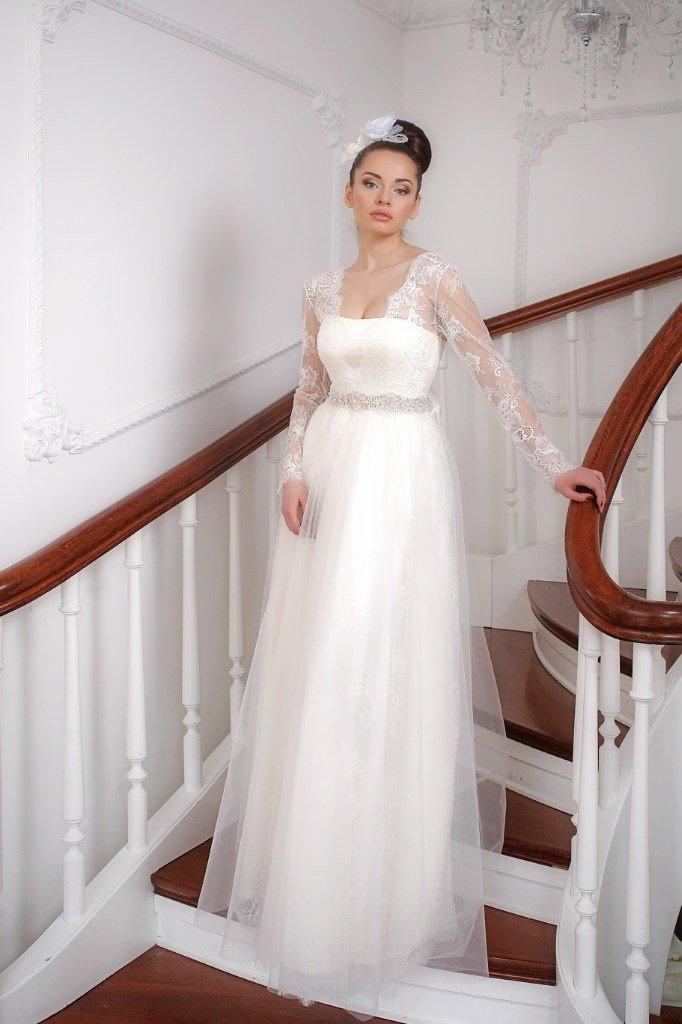 Свадебное платье ампир с рукавами