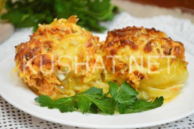 Гнезда из макарон с фаршем и грибами в духовке рецепт с пошагово