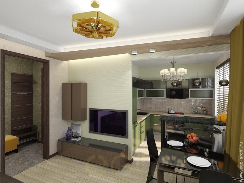 Дизайн кухни совмещенный с комнатой