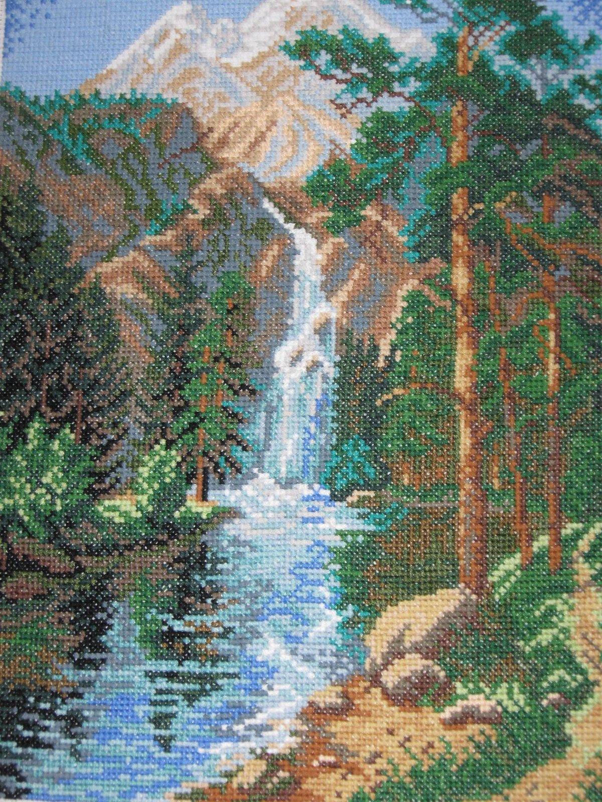 Водопады схемы вышивки крестом 50