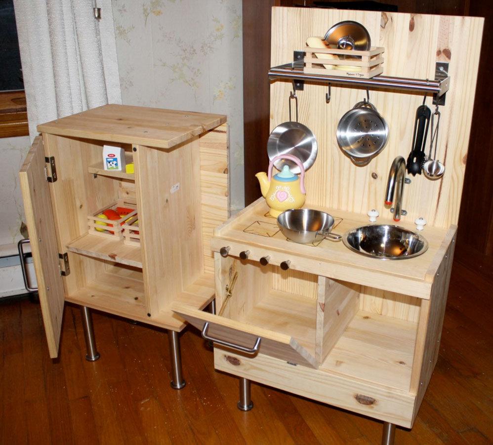 Детская кухня для девочек из дерева своими руками 45