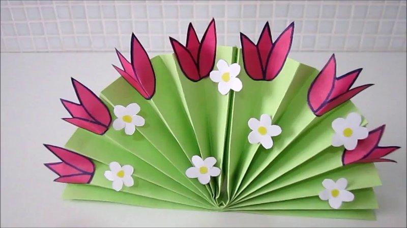 Цветы из цветной бумаги поделки с детьми