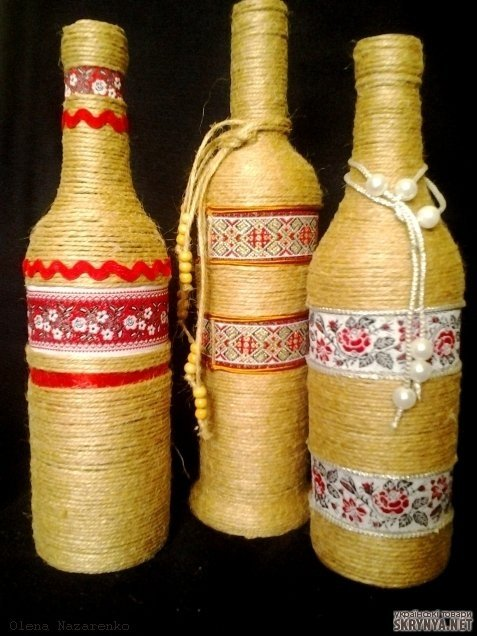 Декор бутылки в украинском стиле своими руками