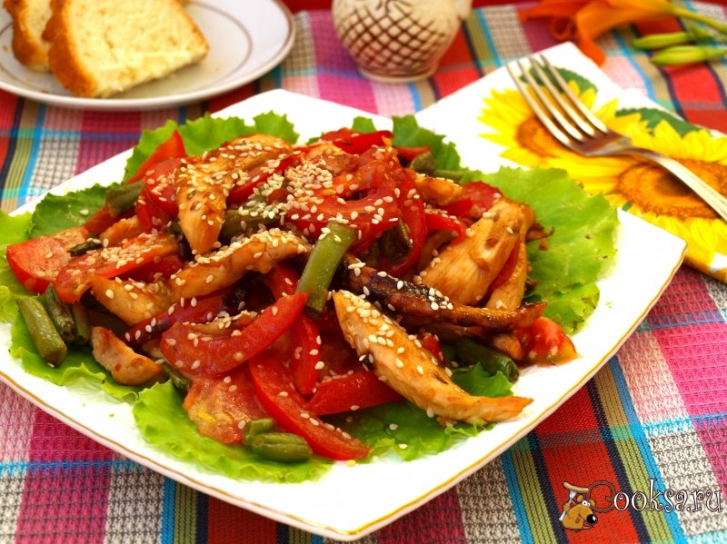 Рецепт салата с стручковой фасолью курицей и грибами
