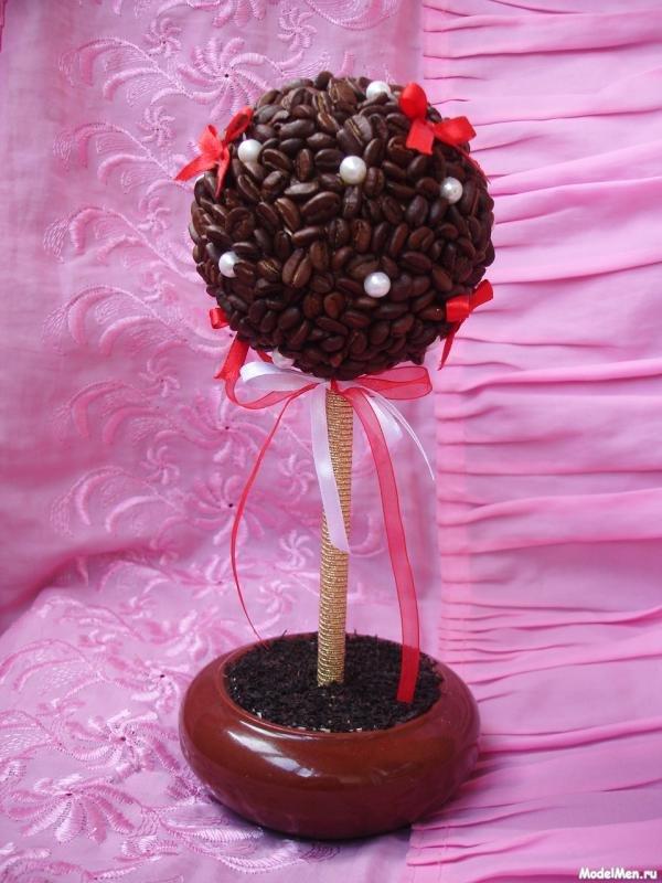 Топиарий из кофейных зерен пошаговое фото дерево