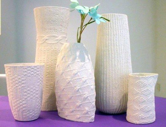 Вязанные вазы из пряжи крючком для вазы