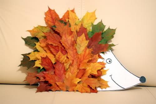 Ежик с листьями поделка 15
