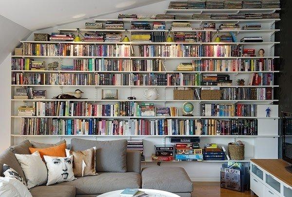 Книжные полки на всю стену своими руками