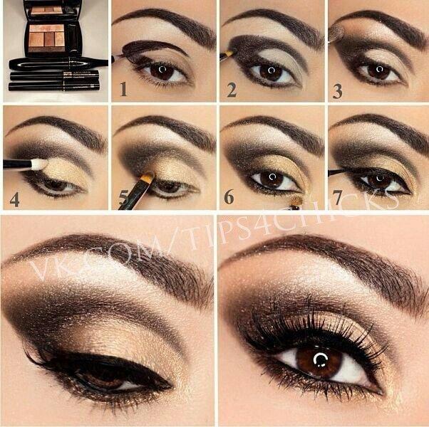 Вечерний макияж для карих глазах в домашних условиях