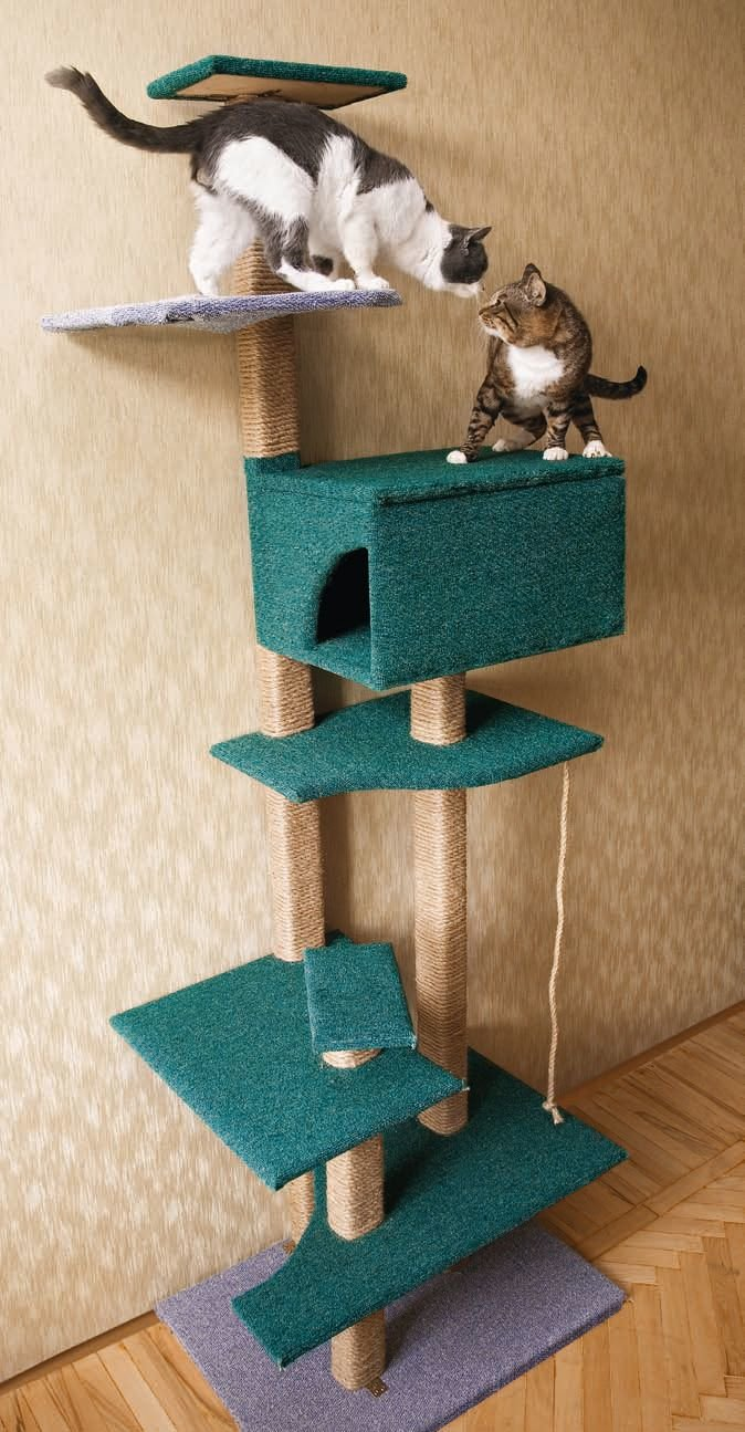 Домики-когтеточки для кошек своими руками 21
