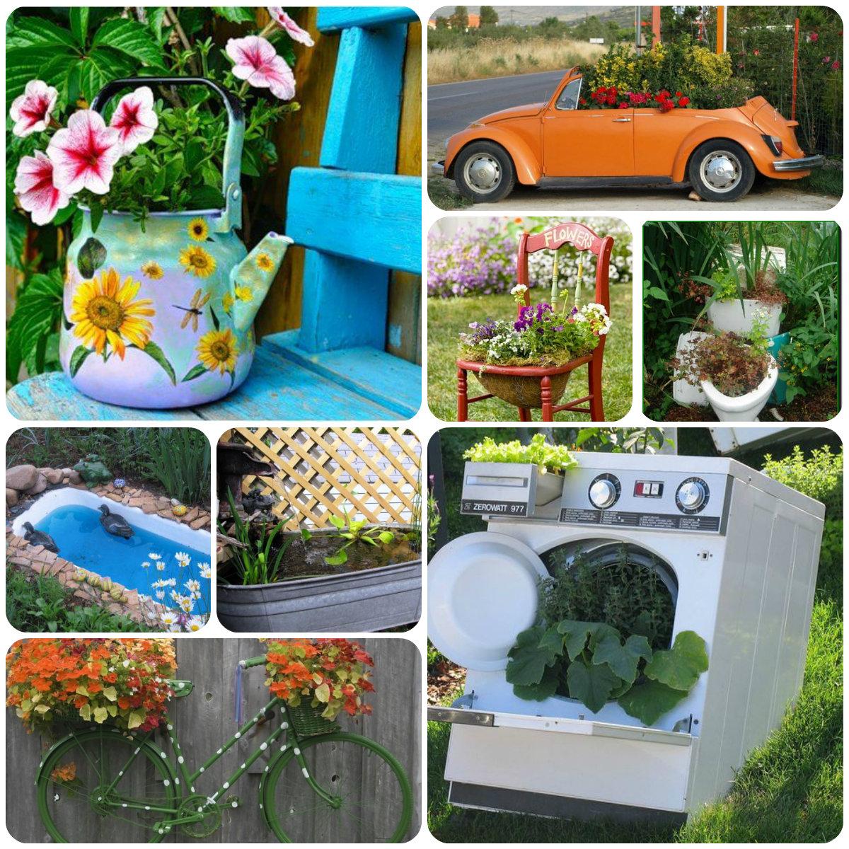 Идеи для сада из подручных материалов своими руками фото 79
