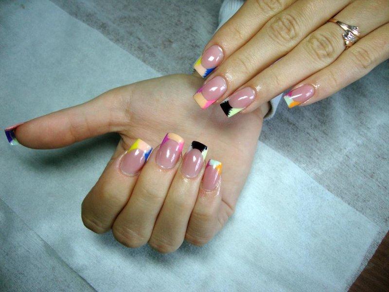 Фото ногтей разноцветный френч
