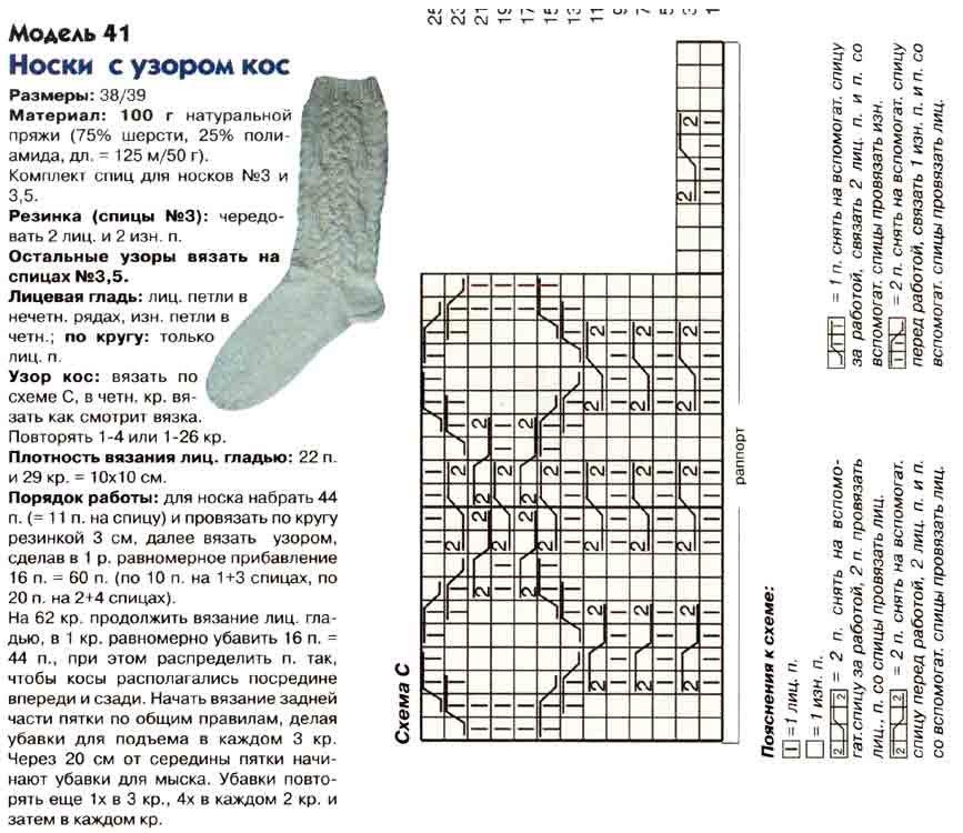 Вязания носков на 5 спицах схемы с описанием 292