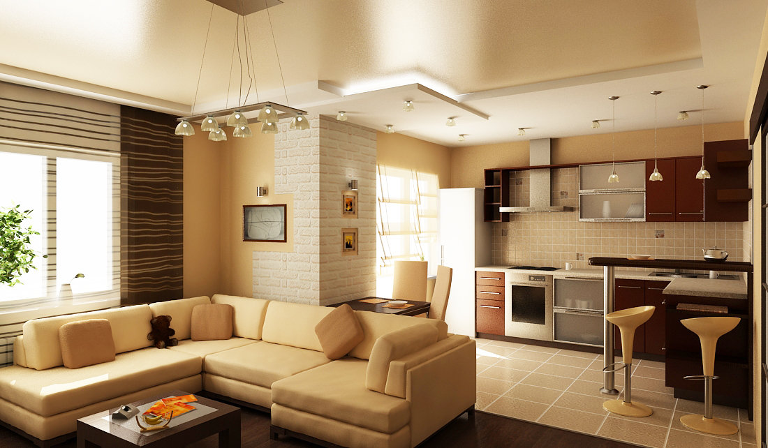 Дизайн зоны кухни и гостиной