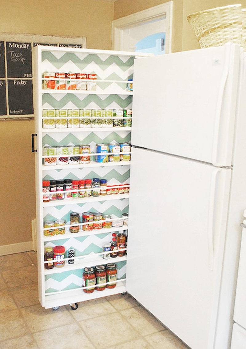 Как сделать выдвижной ящик между холодильником и стеной