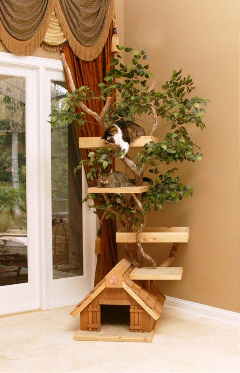 Домики из дерева для кошек своими руками
