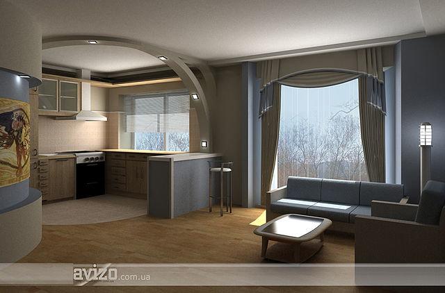 Дизайн зала совмещенного с кухней в квартире