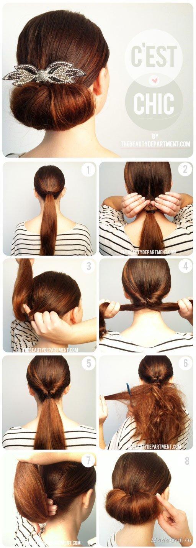 Как сделать пучок из волос для средних волос