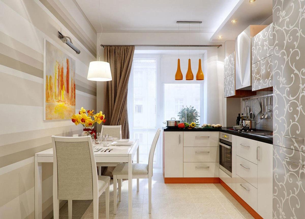 Современный дизайн кухни с выходом на лоджию