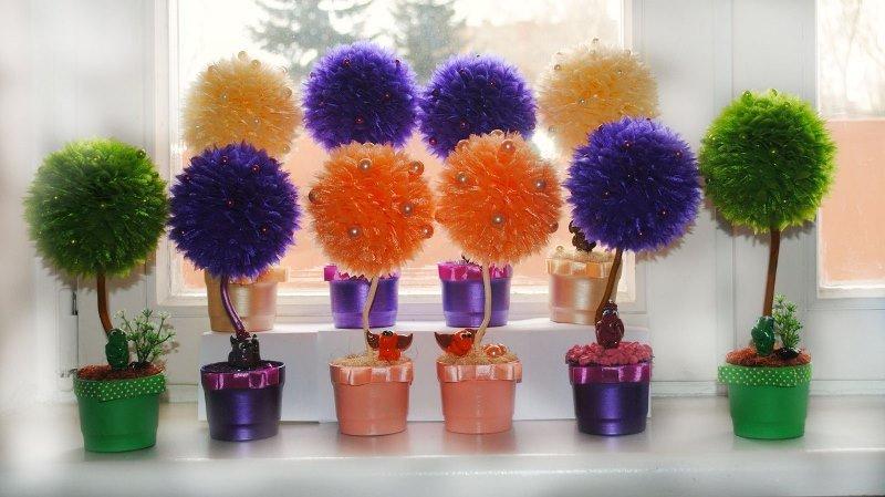 Цветы из органзы своими руками топиарий
