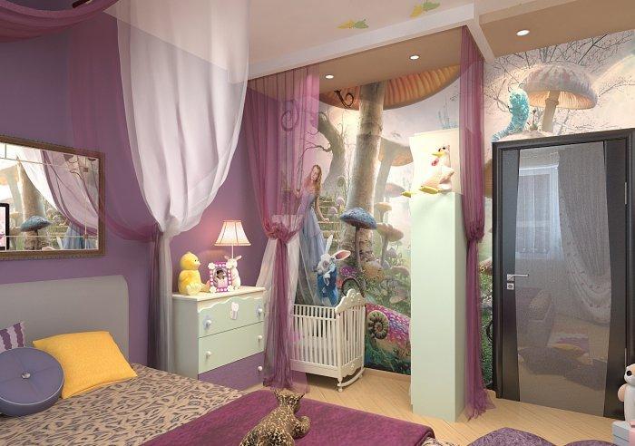 Дизайн спальни и детской кроватки 66