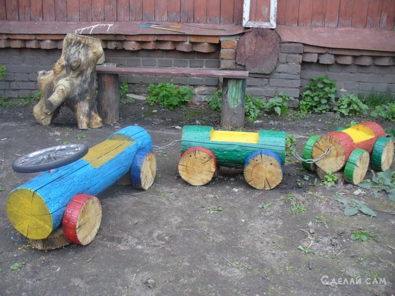 Декоративные паровозики из дерева для сада своими руками 62