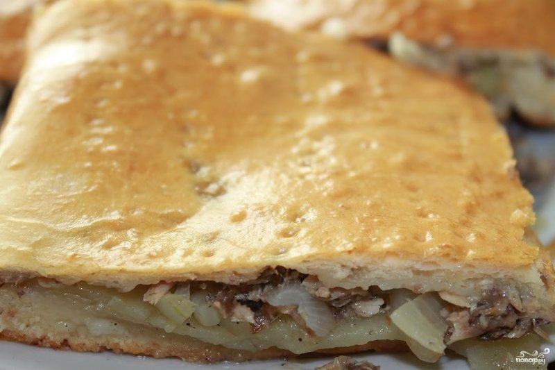 Пирог из сайры с картошкой с пошагово