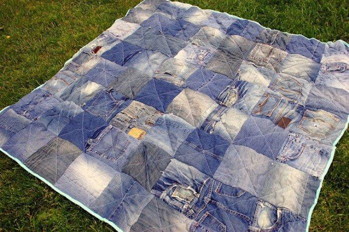 Сшить одеяло из джинсов мастер класс