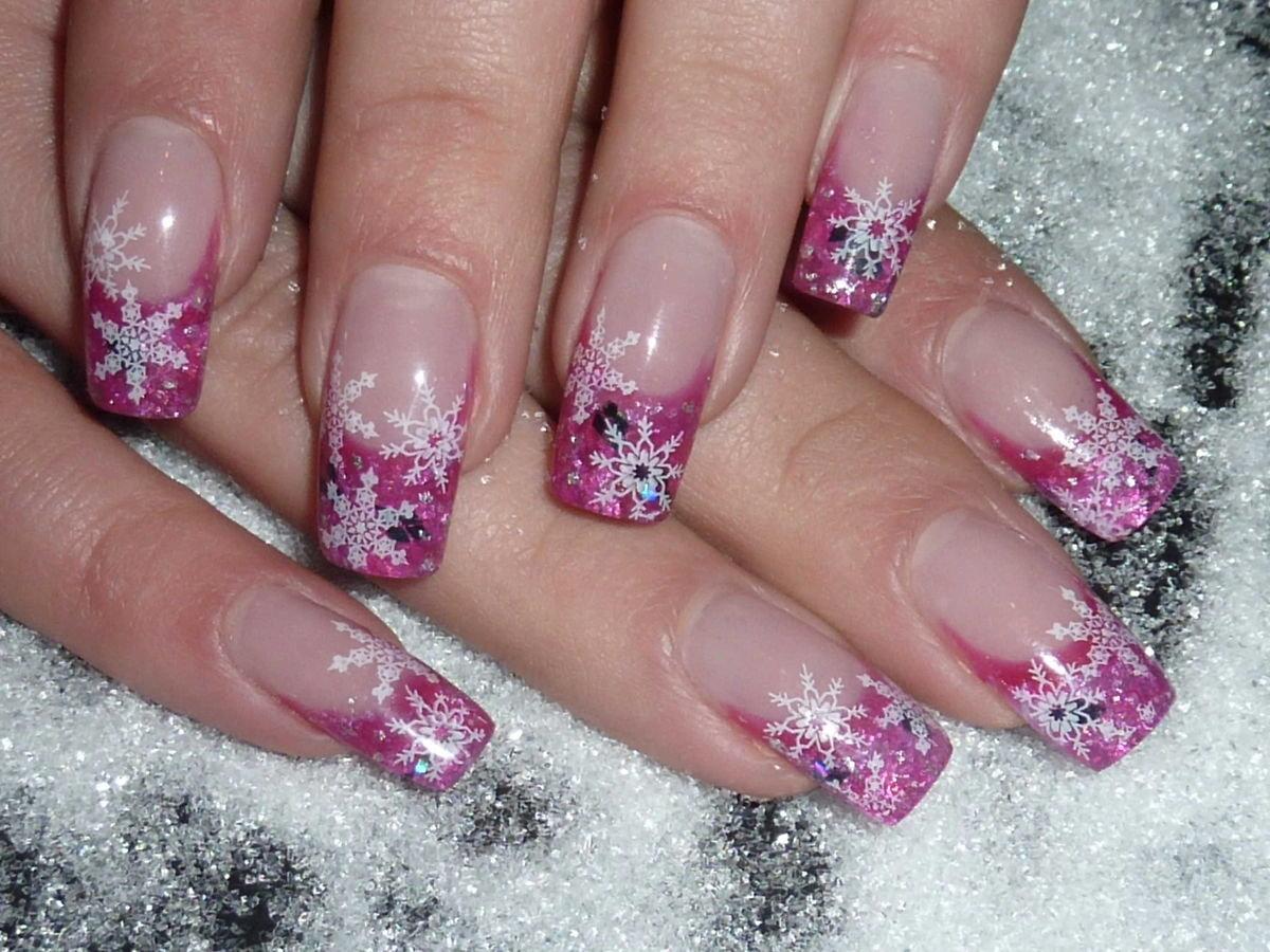 Наращивание ногтей зимний дизайн фото