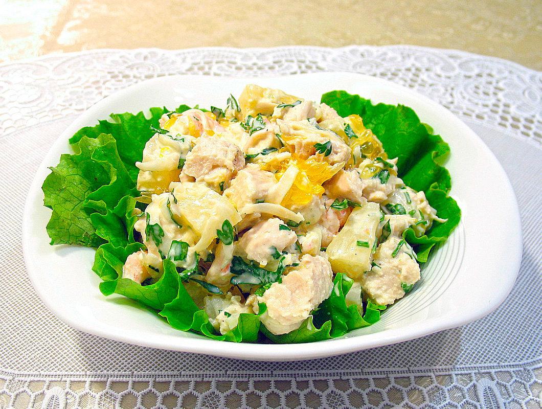Салат невеста с грибами и копченой курицей и