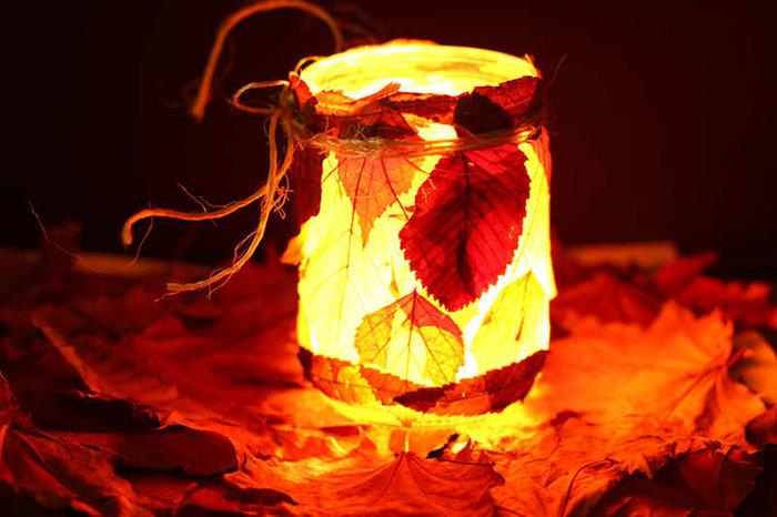Светильник из листьев своими руками