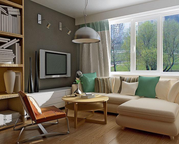 Гостиная с угловым окном дизайн