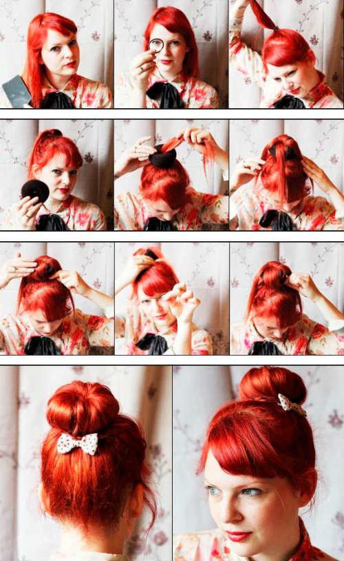 Прически самой себе на средние волосы пошаговые фото