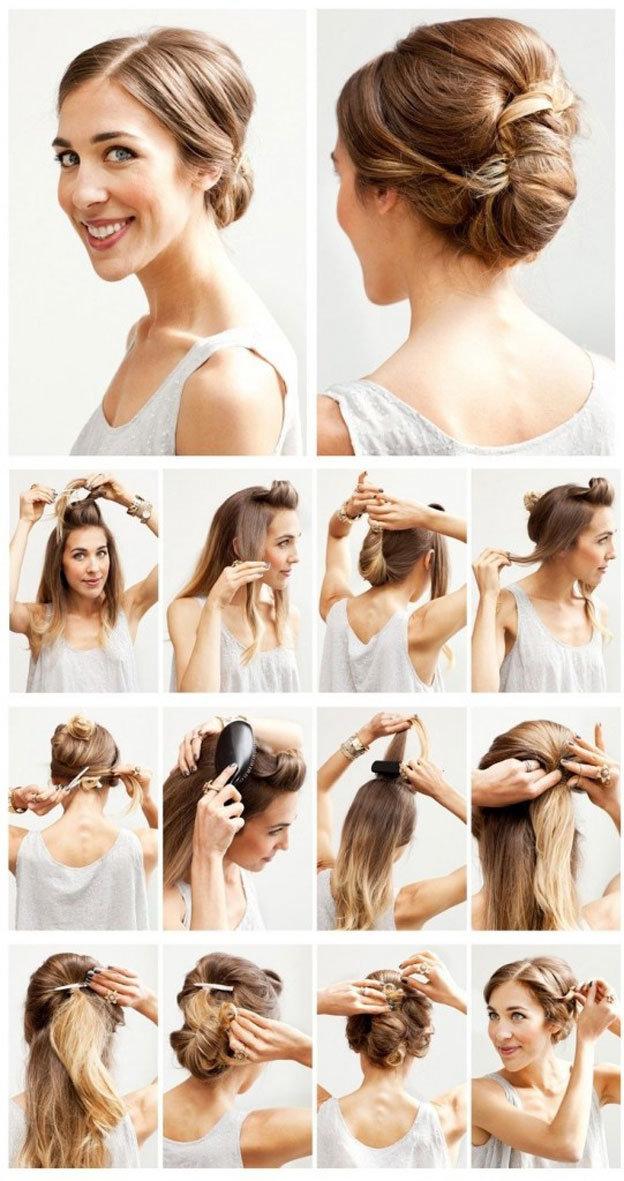 Красивая прическа для волос средней длины своими руками