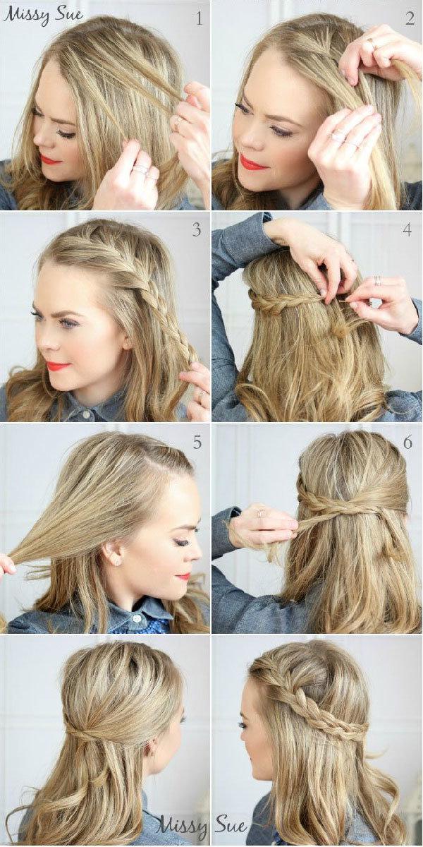 Повседневные причёски на средние волосы своими руками быстро фото 33
