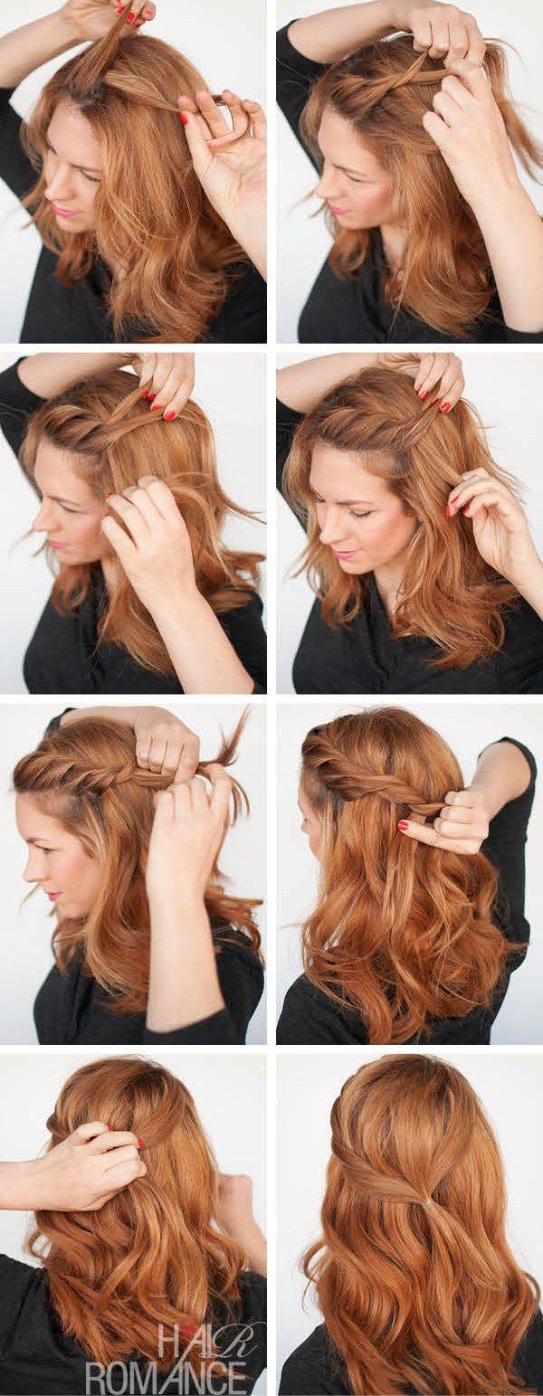Прически простые на средний волос пошагово фото