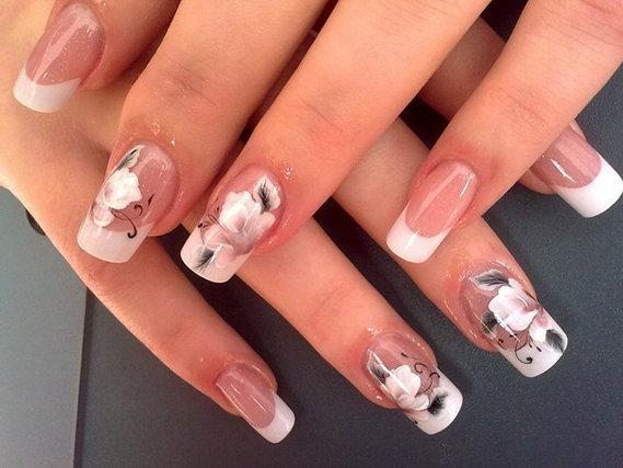 Фото ногтей узоры на белом френче