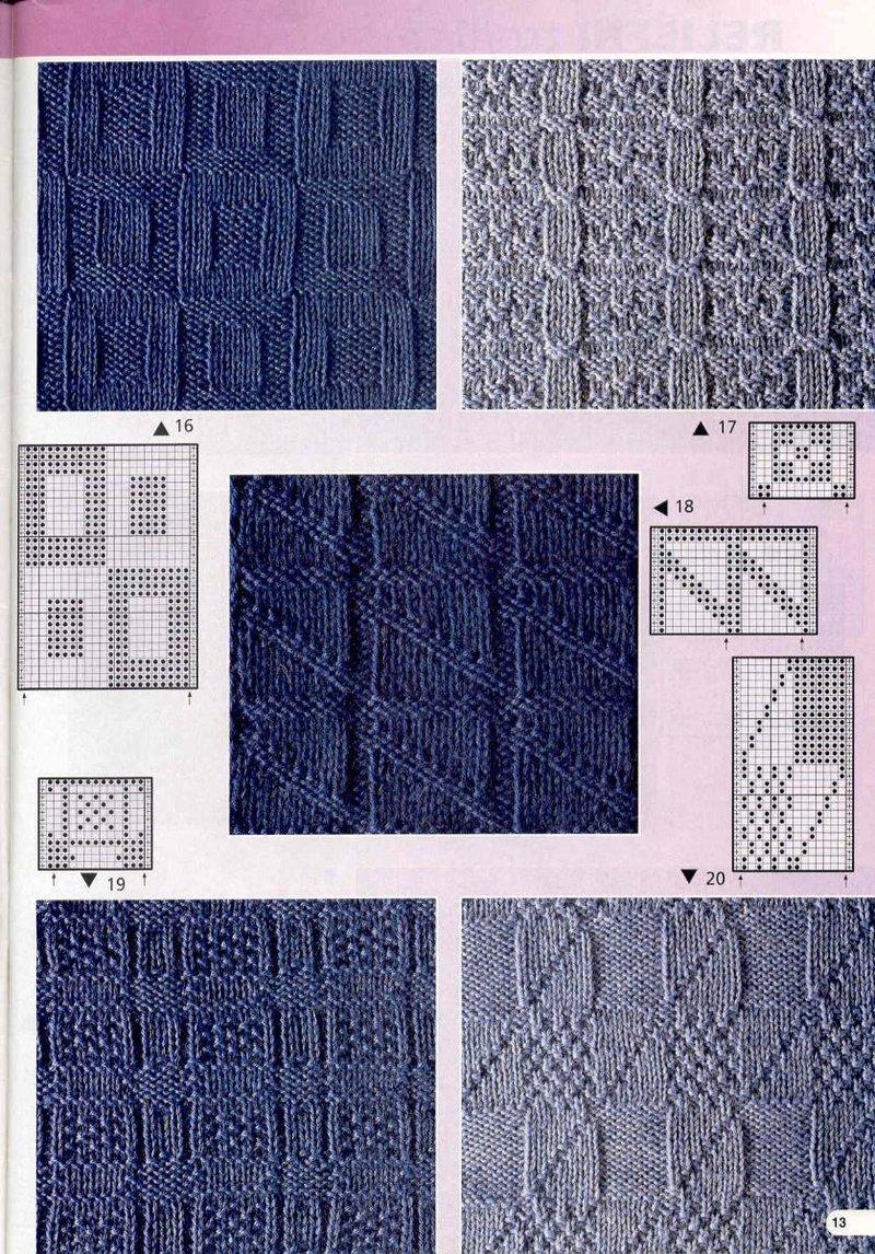 Узоры рельефные для вязания на спицах