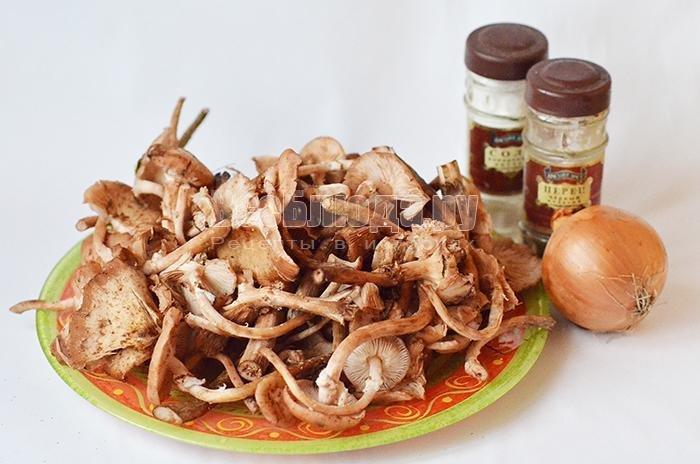 Жареные опята с луком рецепт с пошагово в